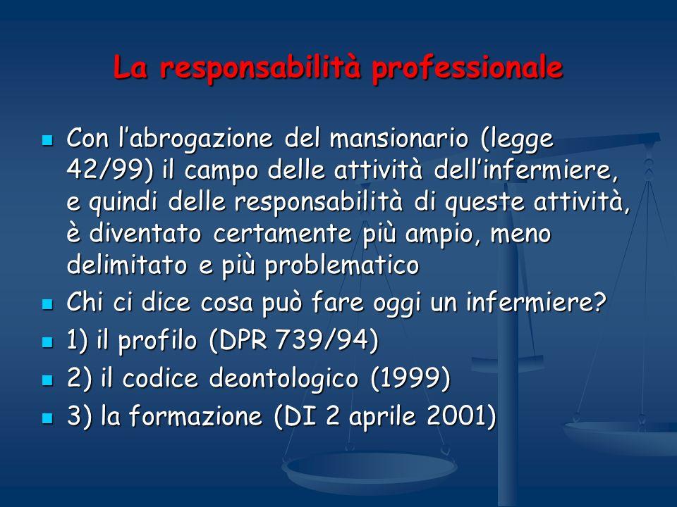 La responsabilità professionale Con labrogazione del mansionario (legge 42/99) il campo delle attività dellinfermiere, e quindi delle responsabilità d