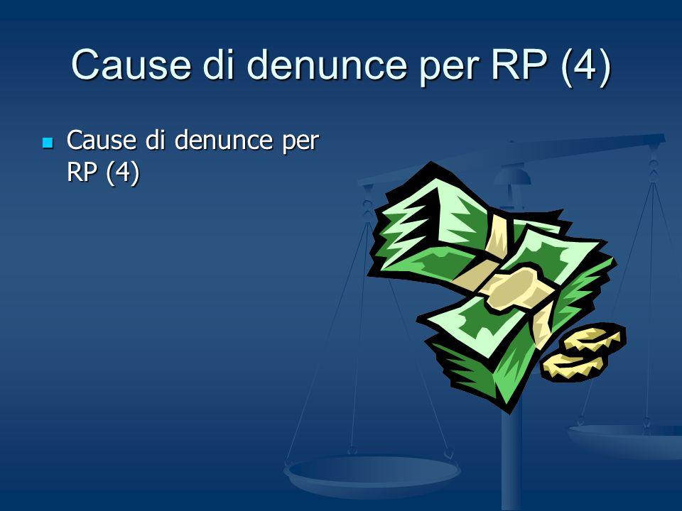 Cause di denunce per RP (4) Cause di denunce per RP (4) Cause di denunce per RP (4)
