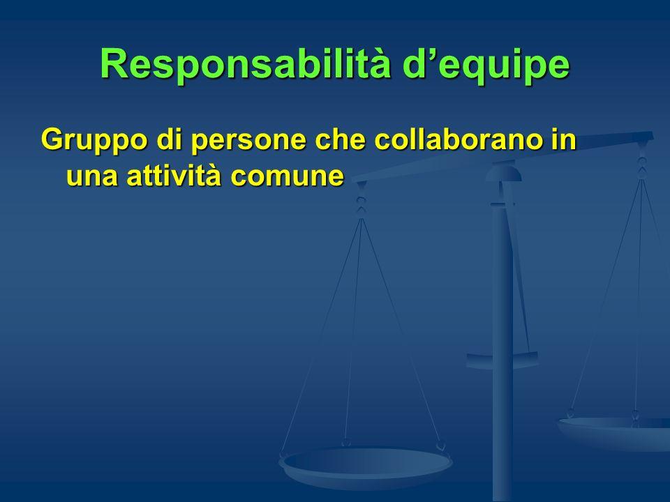 Responsabilità dequipe Gruppo di persone che collaborano in una attività comune
