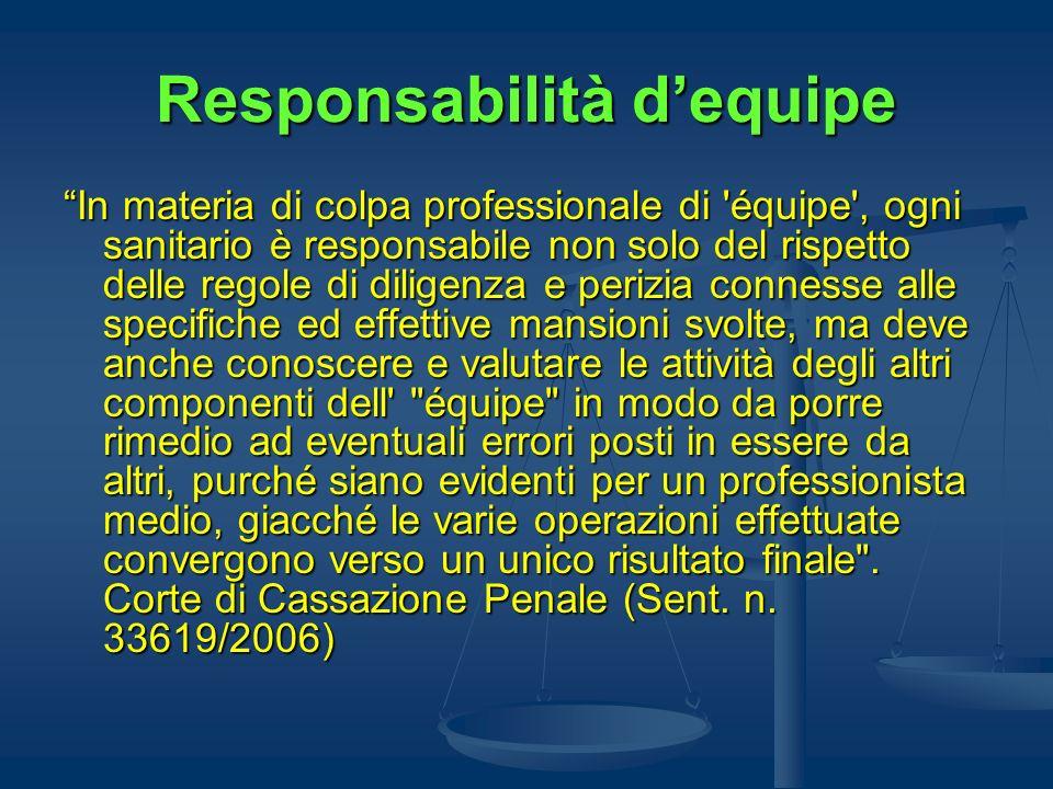 Responsabilità dequipe In materia di colpa professionale di 'équipe', ogni sanitario è responsabile non solo del rispetto delle regole di diligenza e