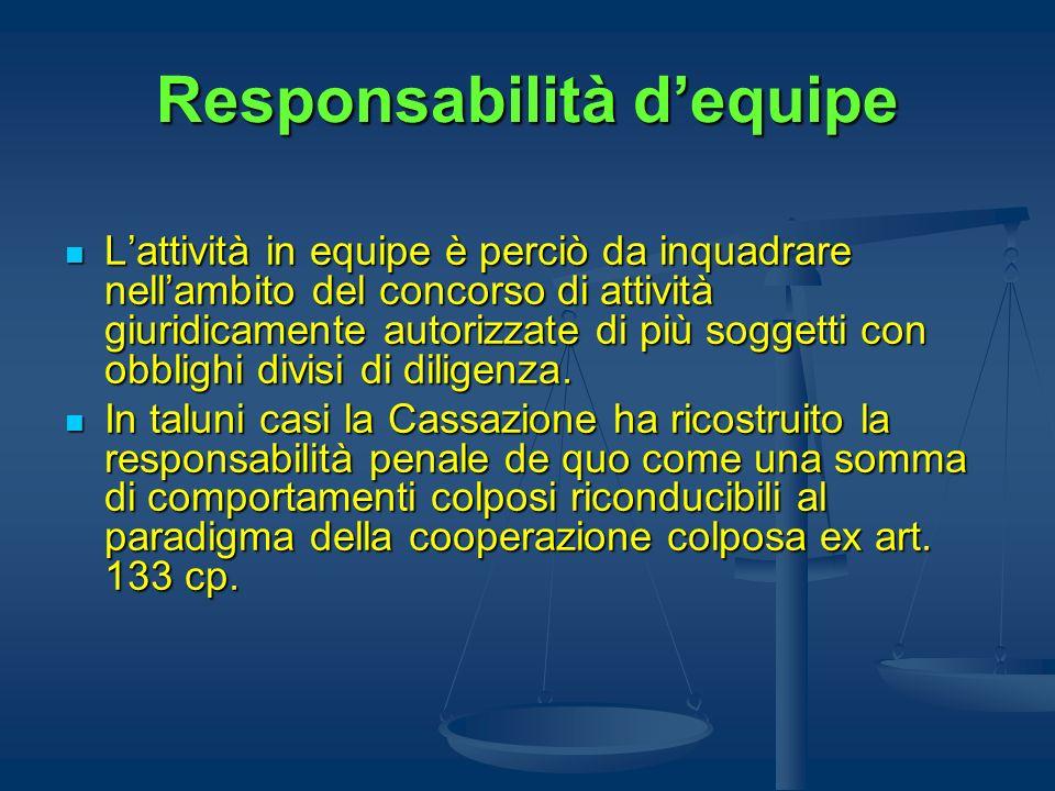 Responsabilità dequipe Lattività in equipe è perciò da inquadrare nellambito del concorso di attività giuridicamente autorizzate di più soggetti con o