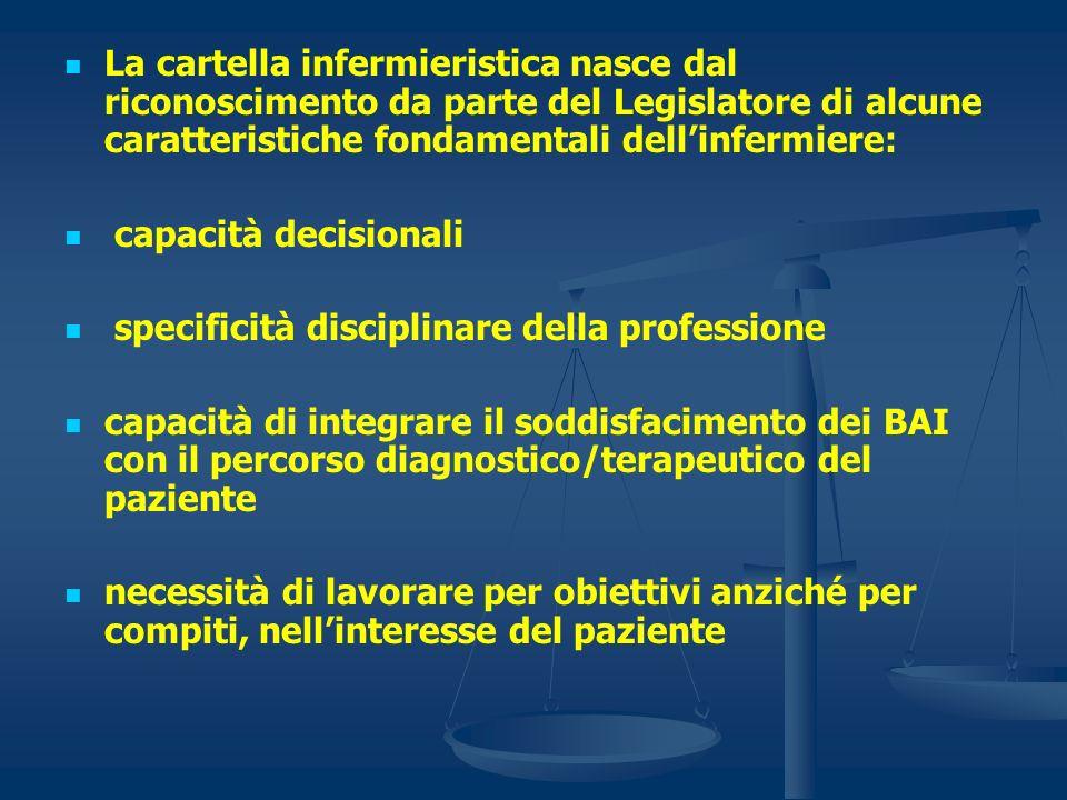 La cartella infermieristica nasce dal riconoscimento da parte del Legislatore di alcune caratteristiche fondamentali dellinfermiere: capacità decision