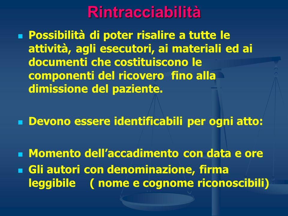 Rintracciabilità Possibilità di poter risalire a tutte le attività, agli esecutori, ai materiali ed ai documenti che costituiscono le componenti del r