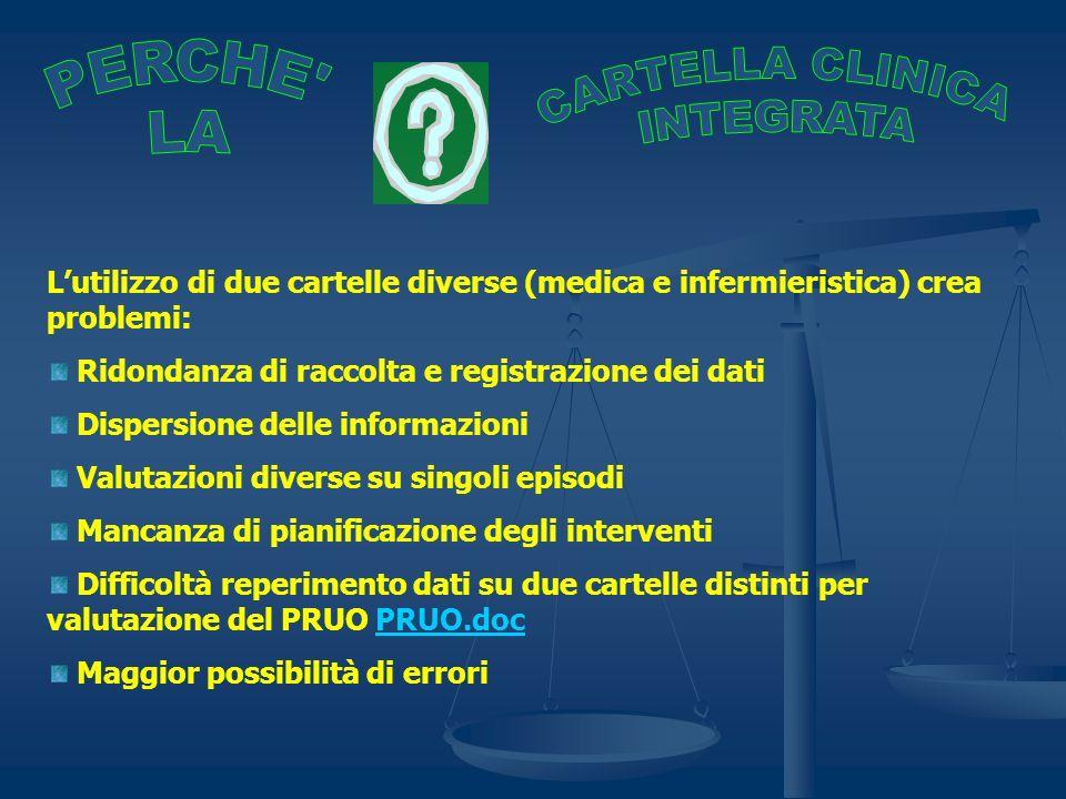 Lutilizzo di due cartelle diverse (medica e infermieristica) crea problemi: Ridondanza di raccolta e registrazione dei dati Dispersione delle informaz