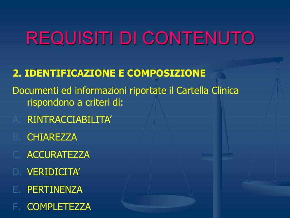 REQUISITI DI CONTENUTO 2. IDENTIFICAZIONE E COMPOSIZIONE Documenti ed informazioni riportate il Cartella Clinica rispondono a criteri di: A.RINTRACCIA