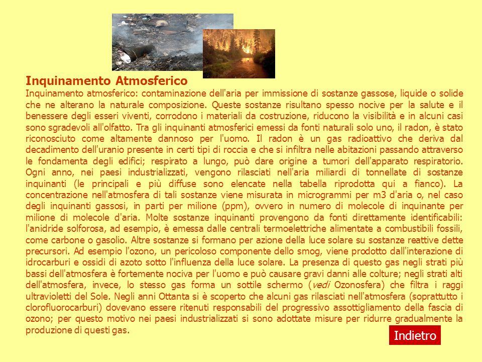 Inquinamento Atmosferico Inquinamento atmosferico: contaminazione dell'aria per immissione di sostanze gassose, liquide o solide che ne alterano la na