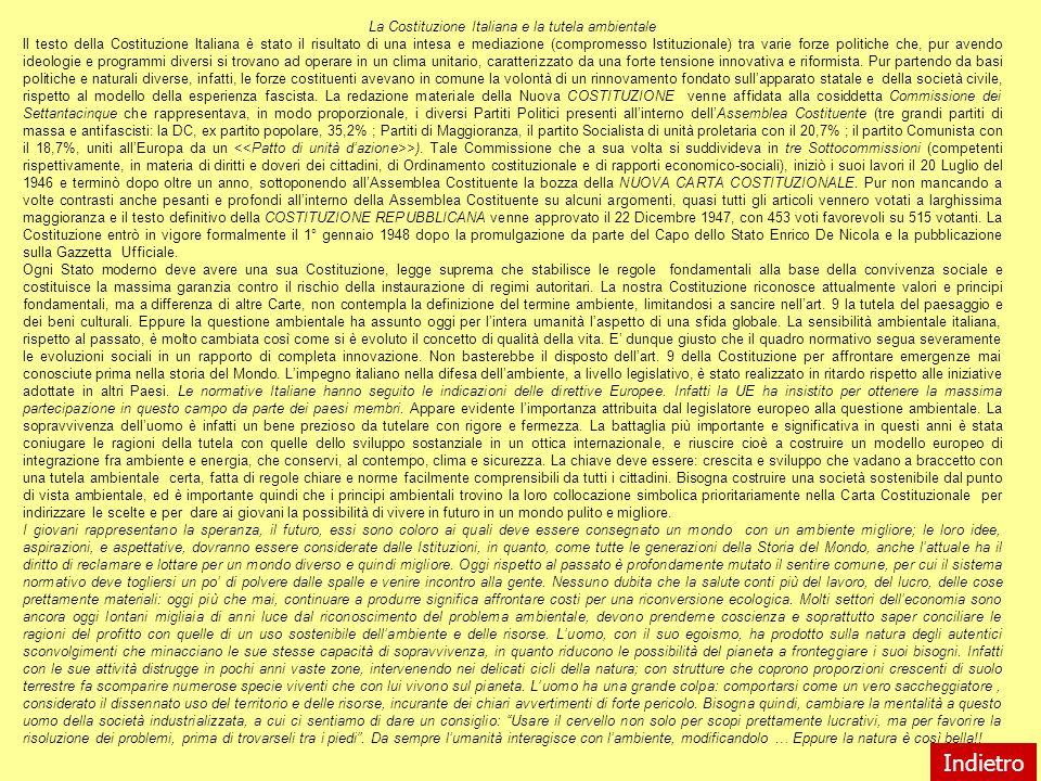 La Costituzione Italiana e la tutela ambientale Il testo della Costituzione Italiana è stato il risultato di una intesa e mediazione (compromesso Isti