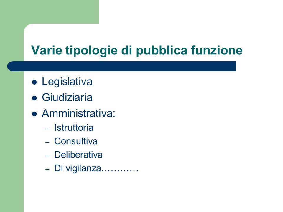 Varie tipologie di pubblica funzione Legislativa Giudiziaria Amministrativa: – Istruttoria – Consultiva – Deliberativa – Di vigilanza…………