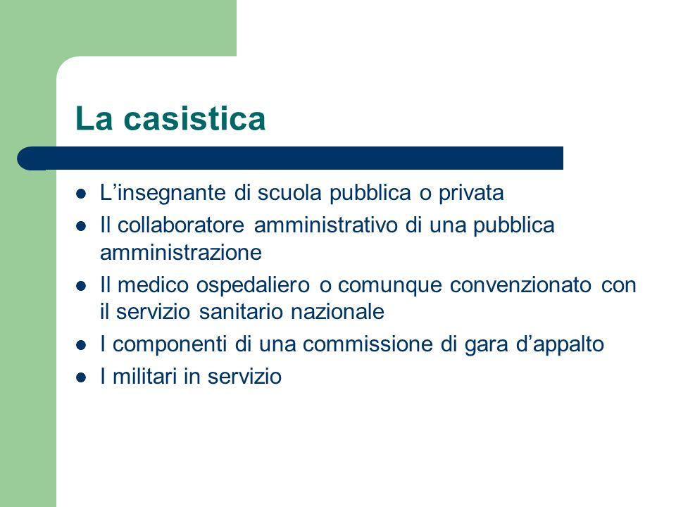 La casistica Linsegnante di scuola pubblica o privata Il collaboratore amministrativo di una pubblica amministrazione Il medico ospedaliero o comunque