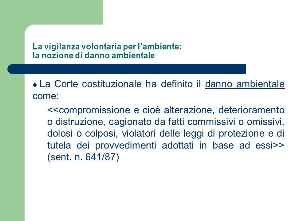 La vigilanza volontaria per lambiente: la nozione di danno ambientale La Corte costituzionale ha definito il danno ambientale come: > (sent. n. 641/87