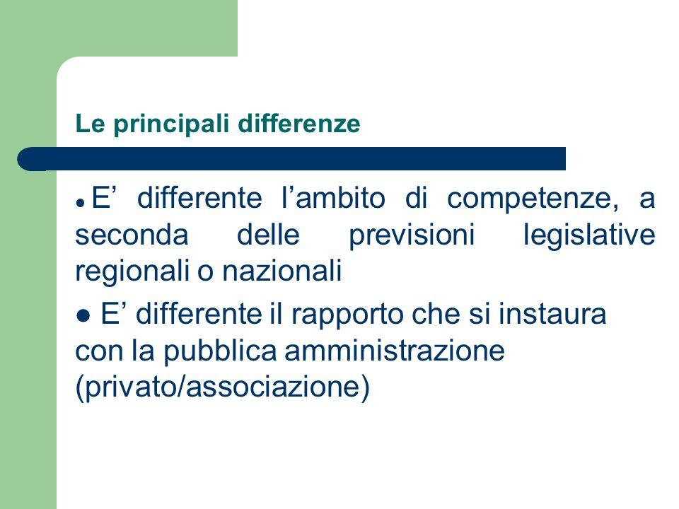 Le principali differenze E differente lambito di competenze, a seconda delle previsioni legislative regionali o nazionali E differente il rapporto che
