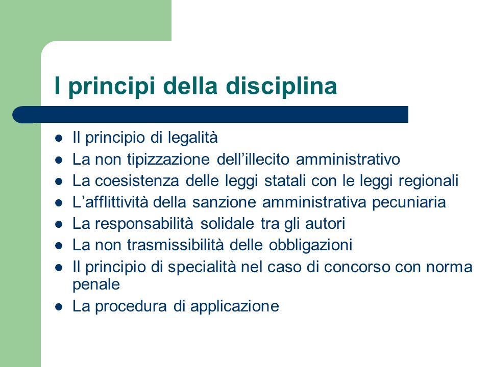 I principi della disciplina Il principio di legalità La non tipizzazione dellillecito amministrativo La coesistenza delle leggi statali con le leggi r