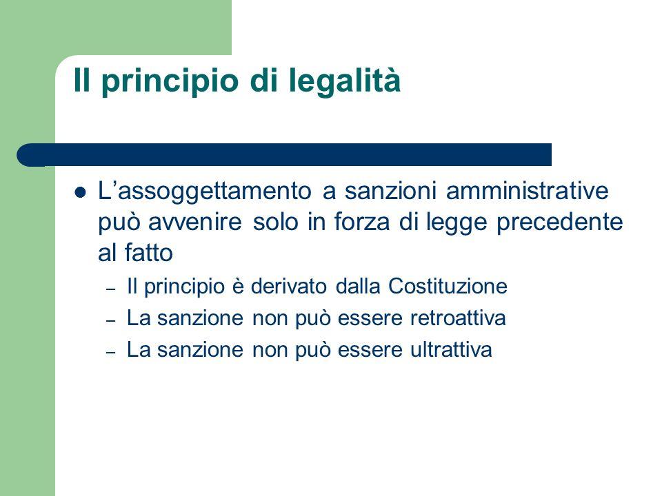 Il principio di legalità Lassoggettamento a sanzioni amministrative può avvenire solo in forza di legge precedente al fatto – Il principio è derivato