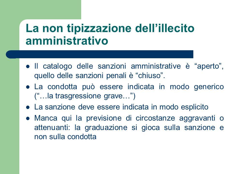 La non tipizzazione dellillecito amministrativo Il catalogo delle sanzioni amministrative è aperto, quello delle sanzioni penali è chiuso. La condotta