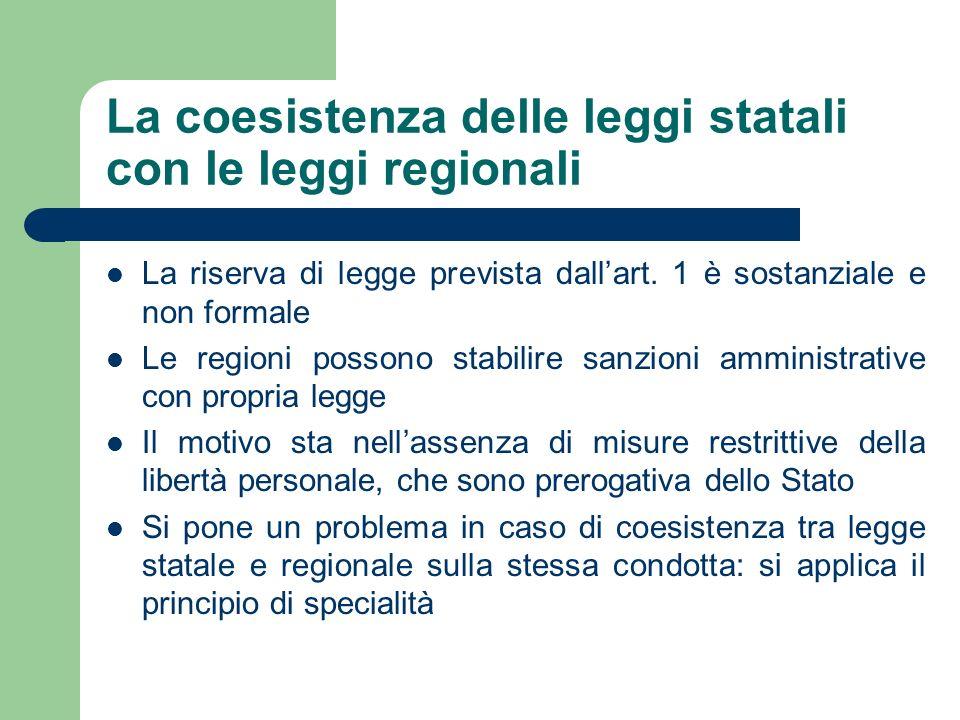 La coesistenza delle leggi statali con le leggi regionali La riserva di legge prevista dallart. 1 è sostanziale e non formale Le regioni possono stabi
