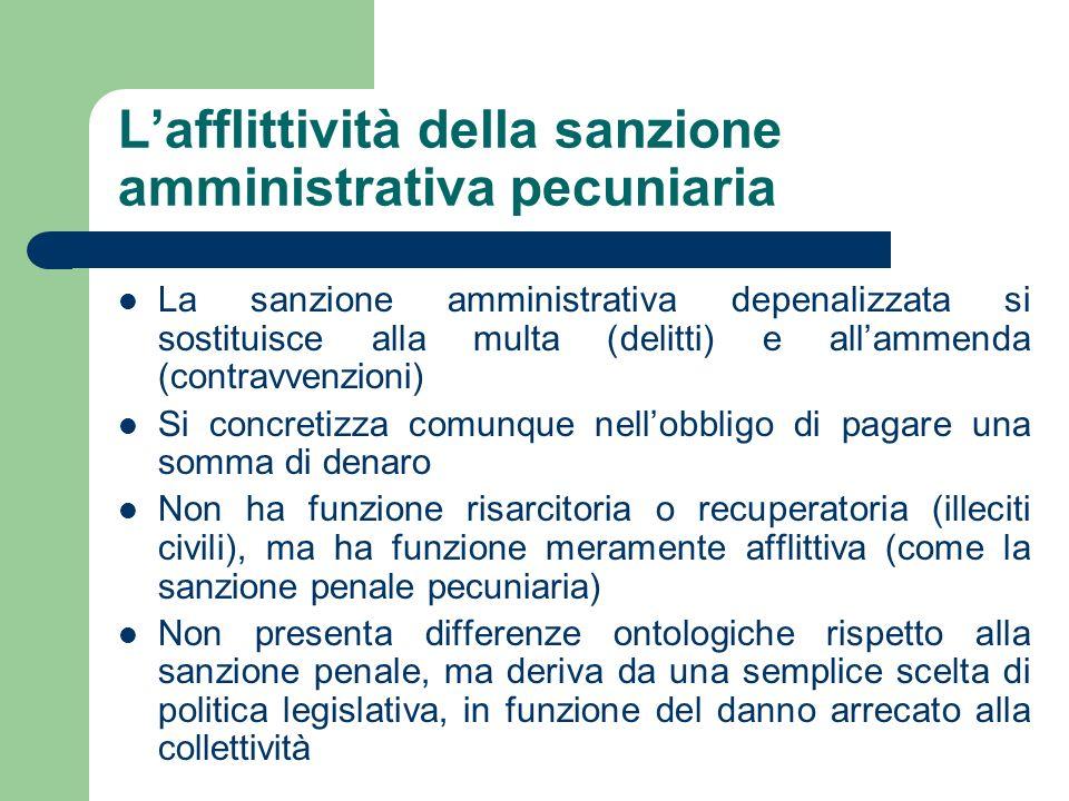 Lafflittività della sanzione amministrativa pecuniaria La sanzione amministrativa depenalizzata si sostituisce alla multa (delitti) e allammenda (cont