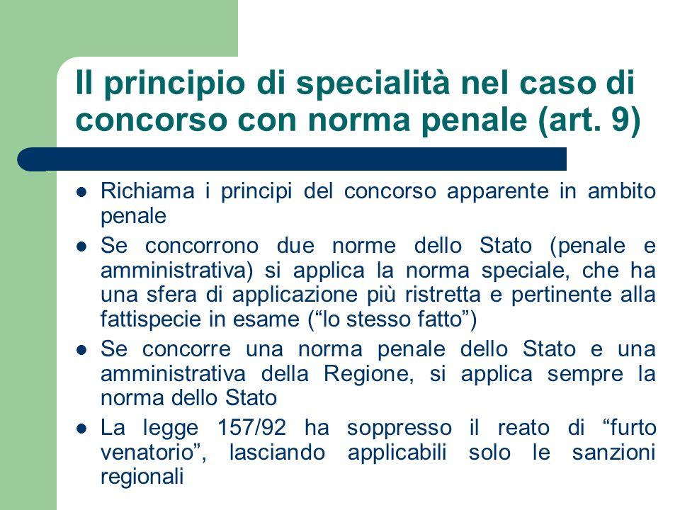 Il principio di specialità nel caso di concorso con norma penale (art. 9) Richiama i principi del concorso apparente in ambito penale Se concorrono du