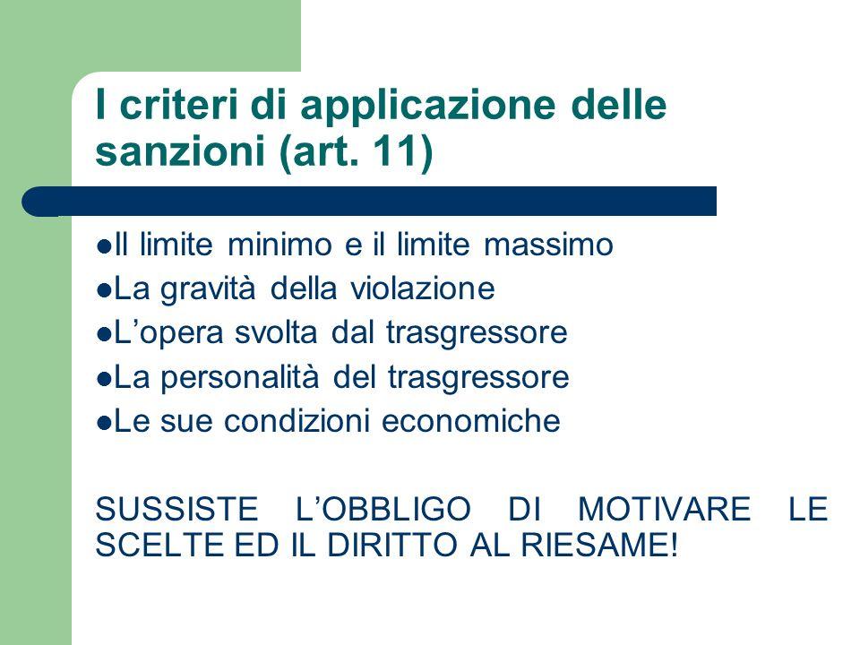I criteri di applicazione delle sanzioni (art. 11) Il limite minimo e il limite massimo La gravità della violazione Lopera svolta dal trasgressore La