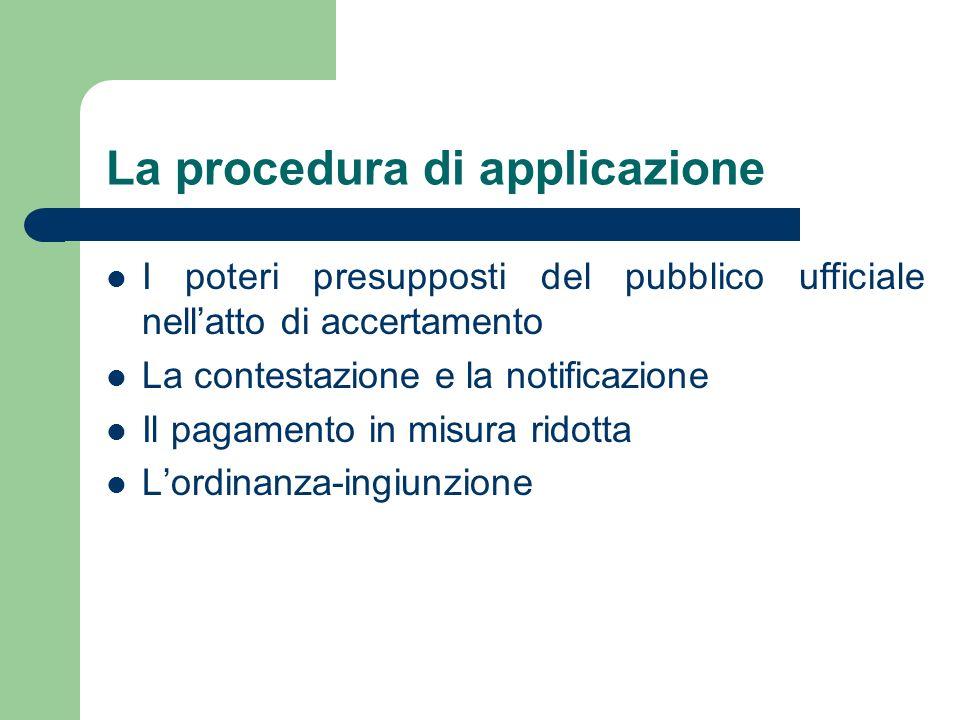 La procedura di applicazione I poteri presupposti del pubblico ufficiale nellatto di accertamento La contestazione e la notificazione Il pagamento in