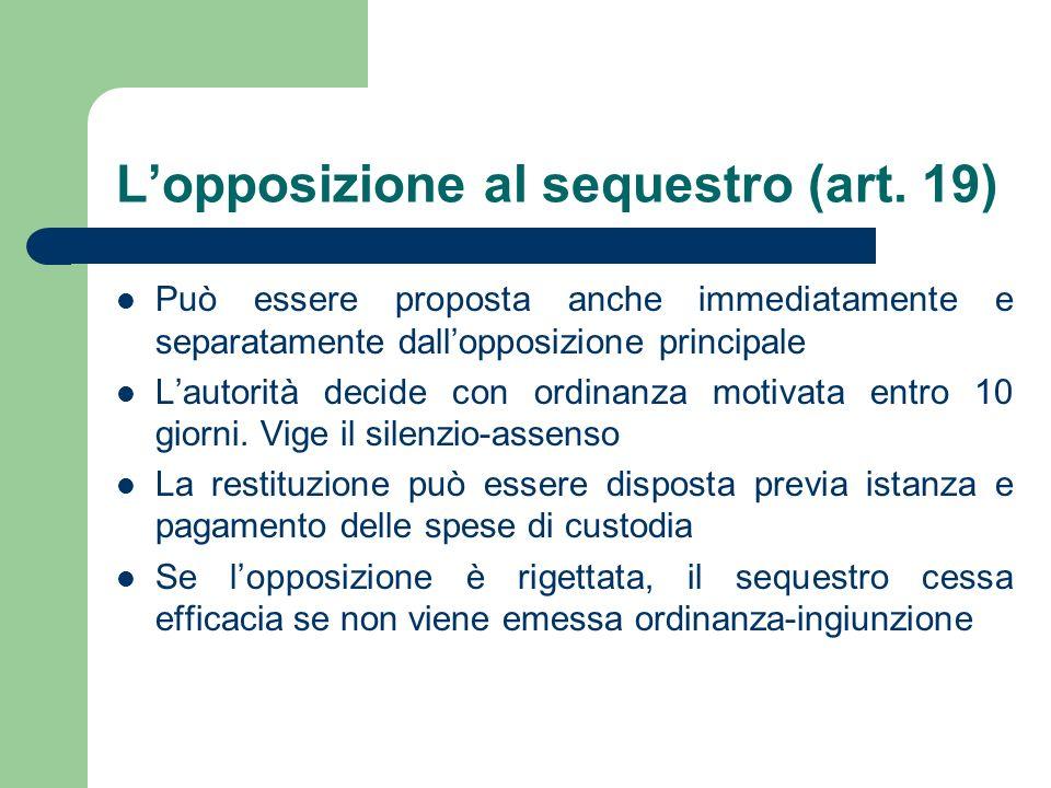Lopposizione al sequestro (art. 19) Può essere proposta anche immediatamente e separatamente dallopposizione principale Lautorità decide con ordinanza