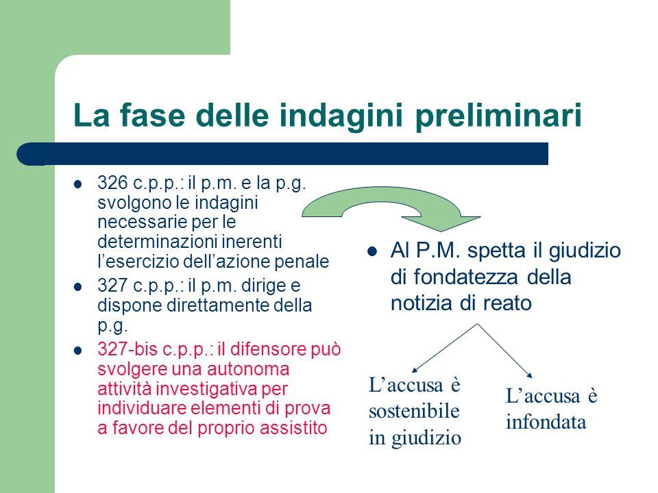 La fase delle indagini preliminari 326 c.p.p.: il p.m. e la p.g. svolgono le indagini necessarie per le determinazioni inerenti lesercizio dellazione