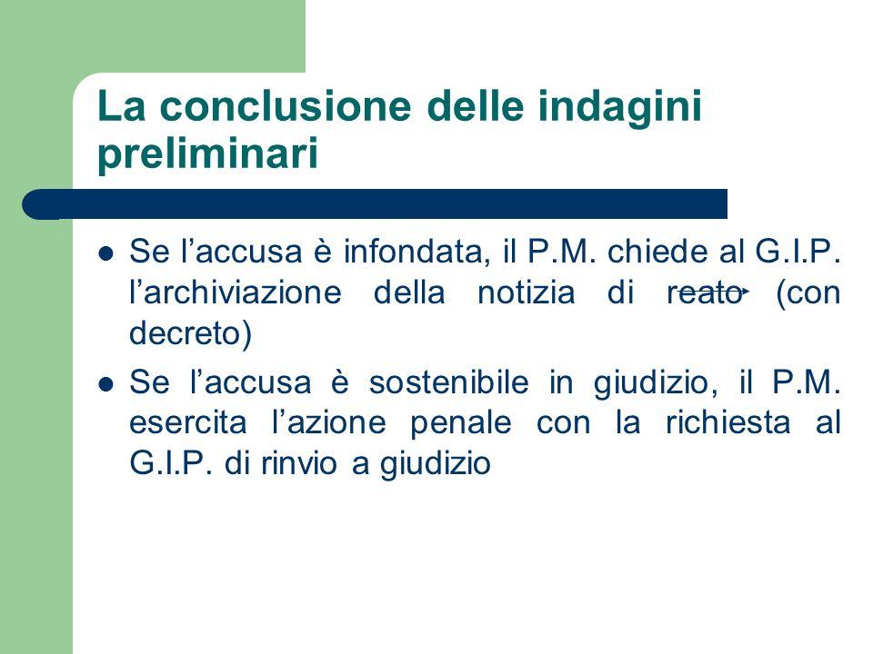 La conclusione delle indagini preliminari Se laccusa è infondata, il P.M. chiede al G.I.P. larchiviazione della notizia di reato (con decreto) Se lacc