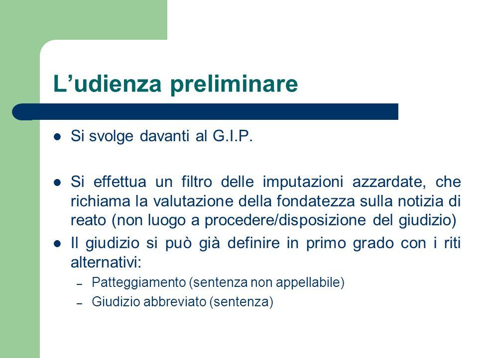 Ludienza preliminare Si svolge davanti al G.I.P. Si effettua un filtro delle imputazioni azzardate, che richiama la valutazione della fondatezza sulla