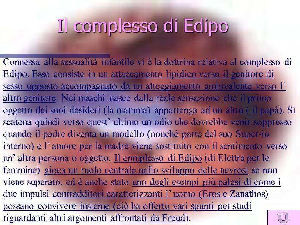 Il complesso di Edipo Connessa alla sessualità infantile vi è la dottrina relativa al complesso di Edipo.