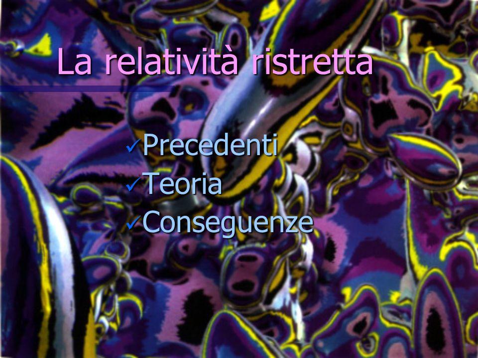 La relatività ristretta Precedenti Precedenti Teoria Teoria Conseguenze Conseguenze