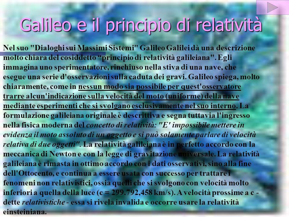 Galileo e il principio di relatività Nel suo Dialoghi sui Massimi Sistemi Galileo Galilei dà una descrizione molto chiara del cosiddetto principio di relatività galileiana .