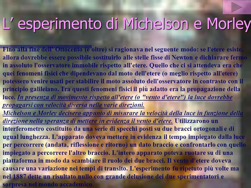 L esperimento di Michelson e Morley Fino alla fine dell Ottocento (e oltre) si ragionava nel seguente modo: se l etere esiste, allora dovrebbe essere possibile sostituirlo alle stelle fisse di Newton e dichiarare fermo in assoluto l osservatore immobile rispetto all etere.