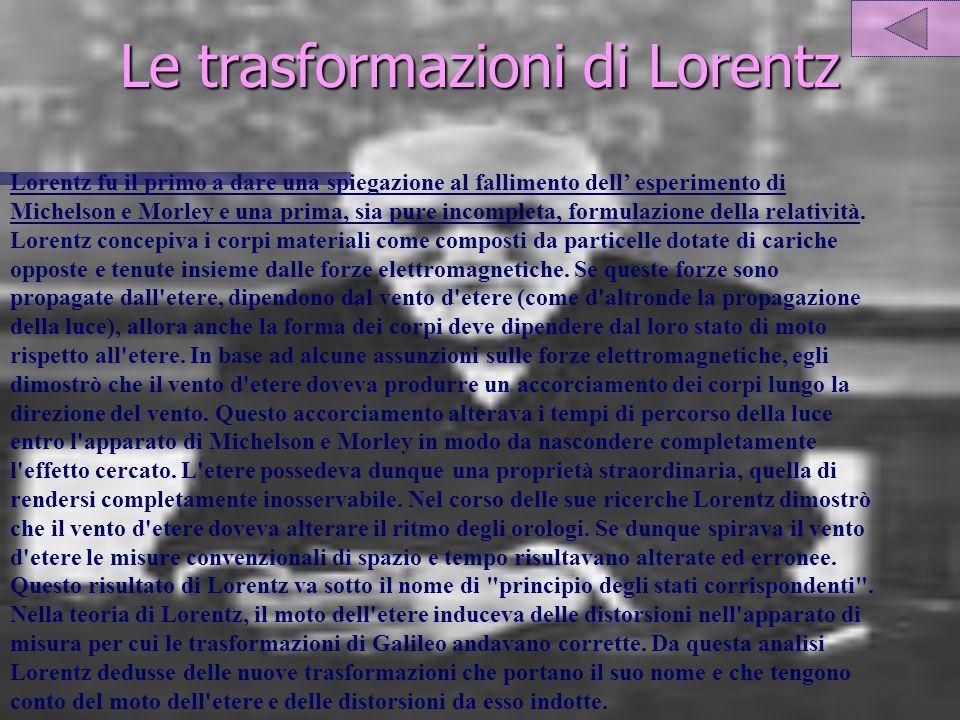 Le trasformazioni di Lorentz Lorentz fu il primo a dare una spiegazione al fallimento dell esperimento di Michelson e Morley e una prima, sia pure incompleta, formulazione della relatività.