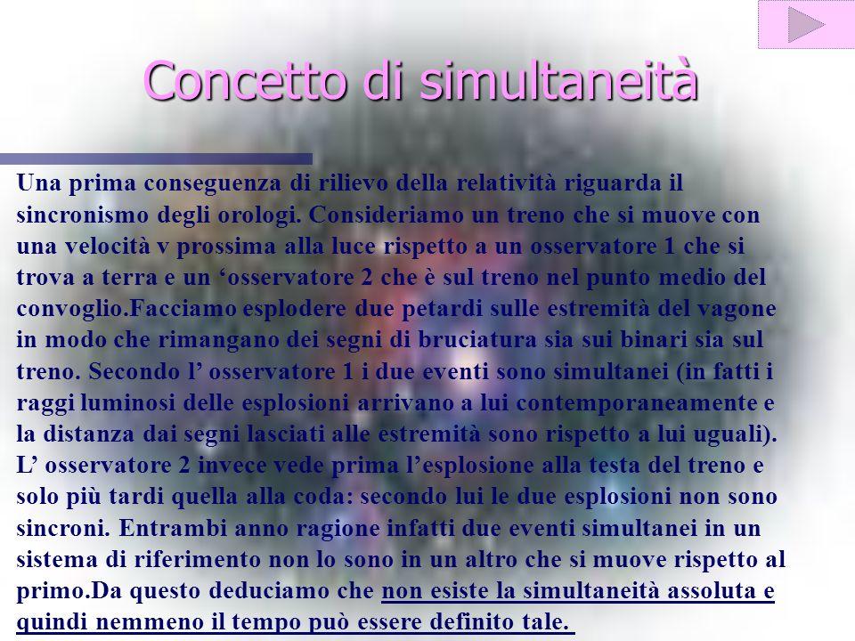 Concetto di simultaneità Una prima conseguenza di rilievo della relatività riguarda il sincronismo degli orologi.
