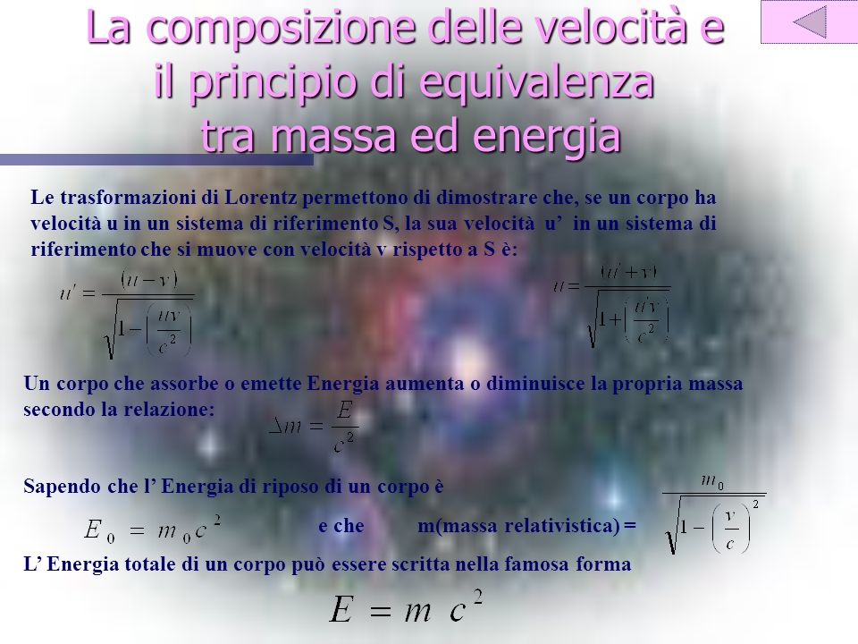 La composizione delle velocità e il principio di equivalenza tra massa ed energia Le trasformazioni di Lorentz permettono di dimostrare che, se un corpo ha velocità u in un sistema di riferimento S, la sua velocità u in un sistema di riferimento che si muove con velocità v rispetto a S è: Un corpo che assorbe o emette Energia aumenta o diminuisce la propria massa secondo la relazione: Sapendo che l Energia di riposo di un corpo è e che m(massa relativistica) = L Energia totale di un corpo può essere scritta nella famosa forma