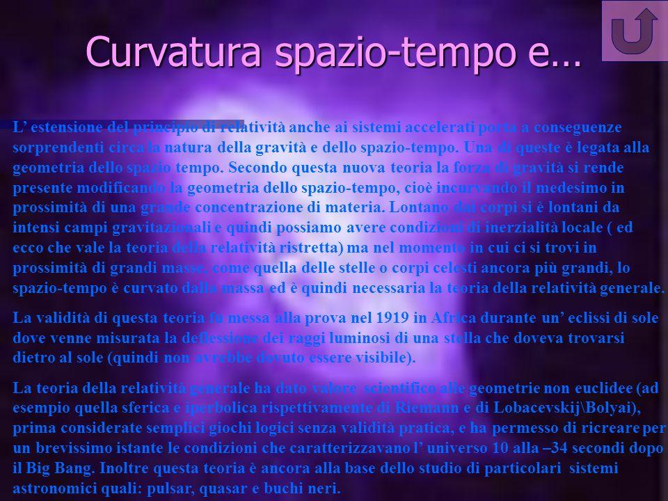 Curvatura spazio-tempo e… L estensione del principio di relatività anche ai sistemi accelerati porta a conseguenze sorprendenti circa la natura della gravità e dello spazio-tempo.