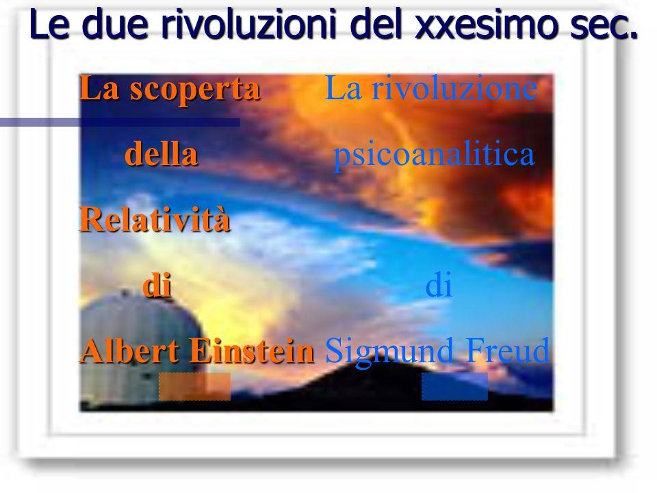 Le due rivoluzioni del xxesimo sec. La scoperta della dellaRelatività di di Albert Einstein La rivoluzione psicoanalitica di Sigmund Freud