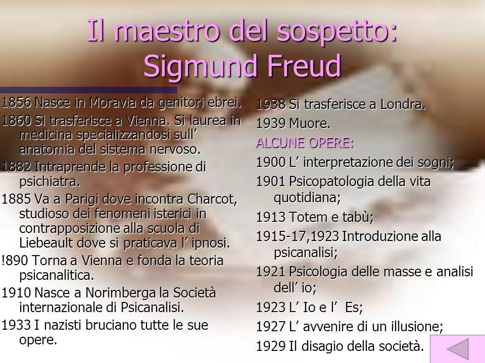 Il maestro del sospetto: Sigmund Freud 1856 Nasce in Moravia da genitori ebrei. 1860 Si trasferisce a Vienna. Si laurea in medicina specializzandosi s