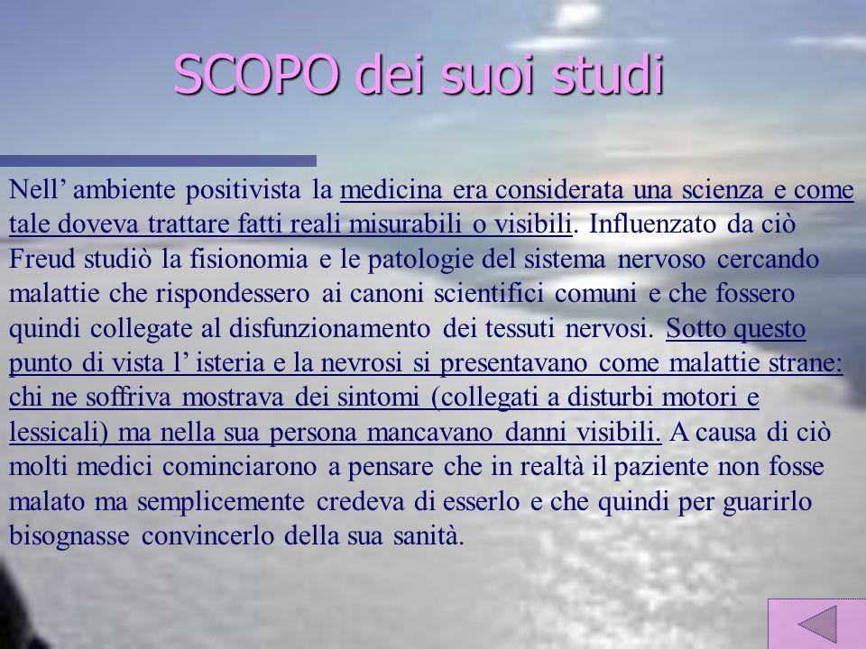 SCOPO dei suoi studi Nell ambiente positivista la medicina era considerata una scienza e come tale doveva trattare fatti reali misurabili o visibili.