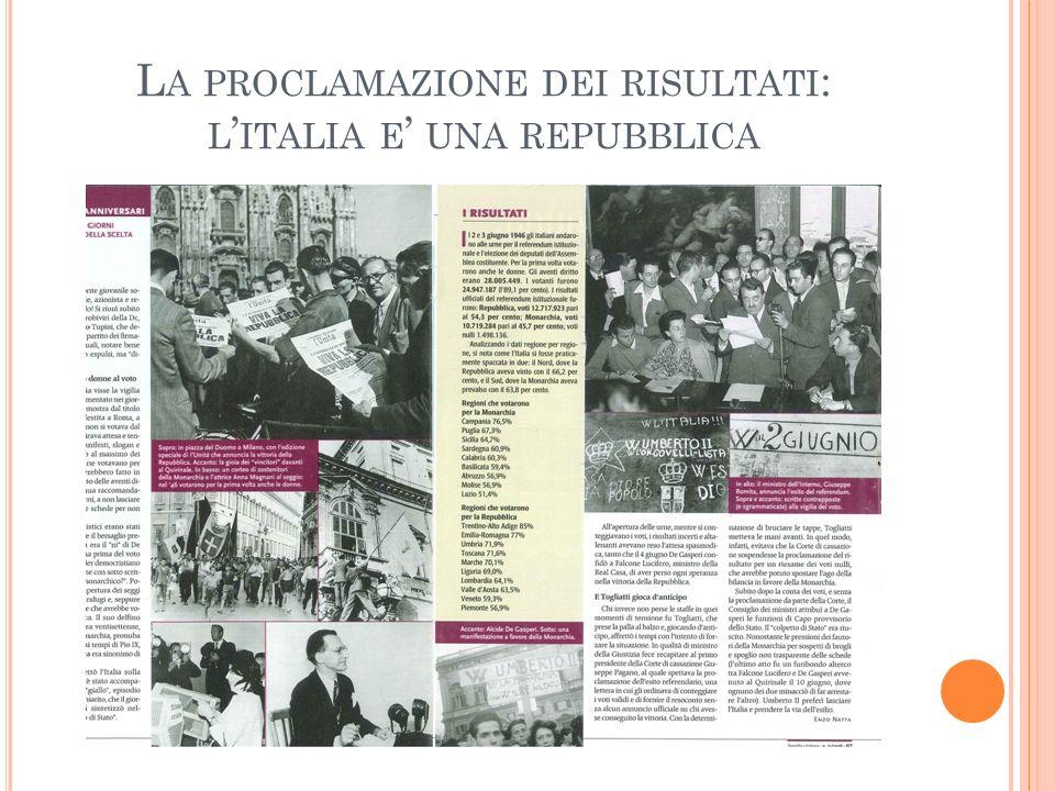 L A PROCLAMAZIONE DEI RISULTATI : L ITALIA E UNA REPUBBLICA