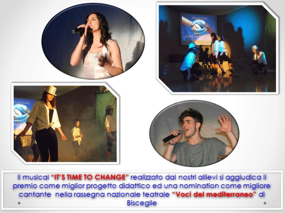 Il musical ITS TIME TO CHANGE realizzato dai nostri allievi si aggiudica il premio come miglior progetto didattico ed una nomination come migliore cantante nella rassegna nazionale teatrale Voci del mediterraneo di Bisceglie