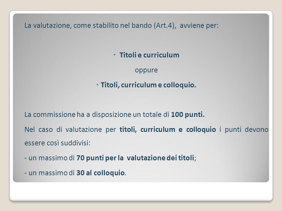 La valutazione, come stabilito nel bando (Art.4), avviene per: Titoli e curriculum oppure Titoli, curriculum e colloquio. La commissione ha a disposiz