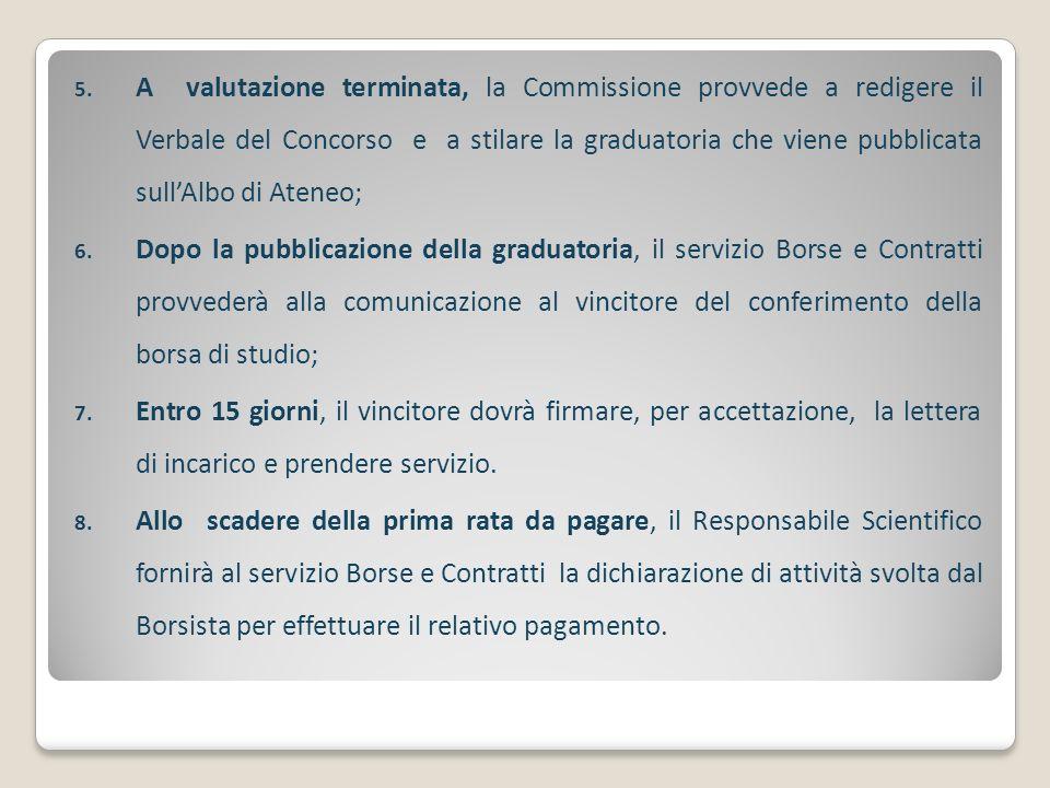 5. A valutazione terminata, la Commissione provvede a redigere il Verbale del Concorso e a stilare la graduatoria che viene pubblicata sullAlbo di Ate