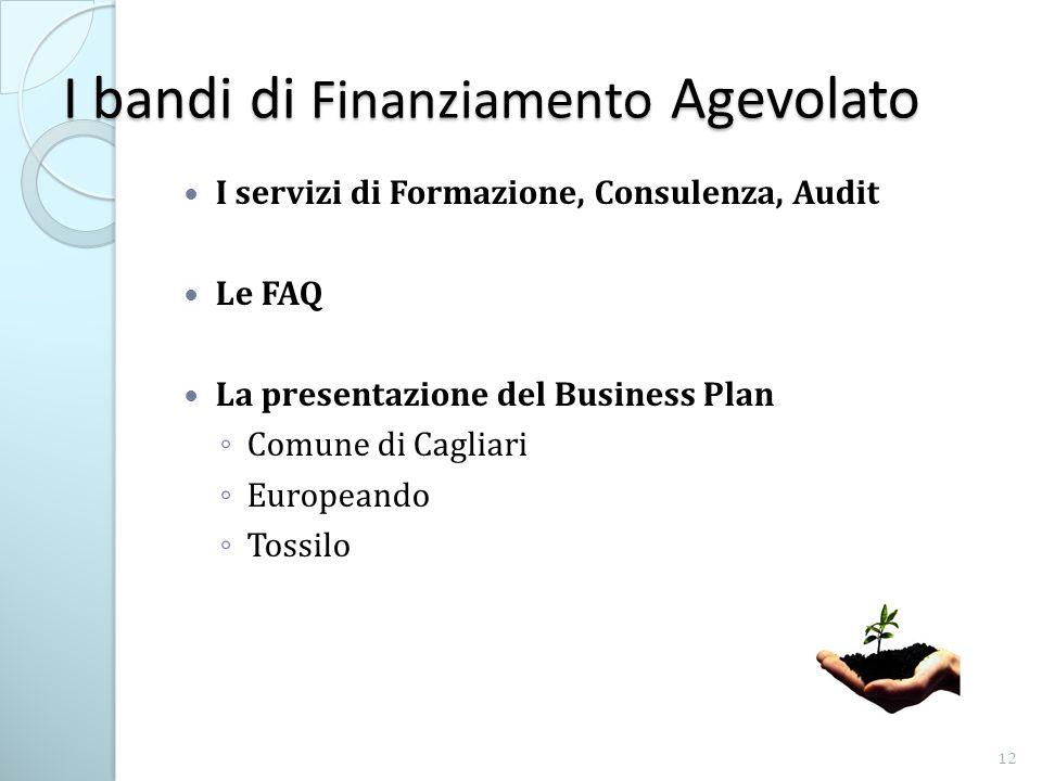I bandi di Finanziamento Agevolato I servizi di Formazione, Consulenza, Audit Le FAQ La presentazione del Business Plan Comune di Cagliari Europeando Tossilo 12