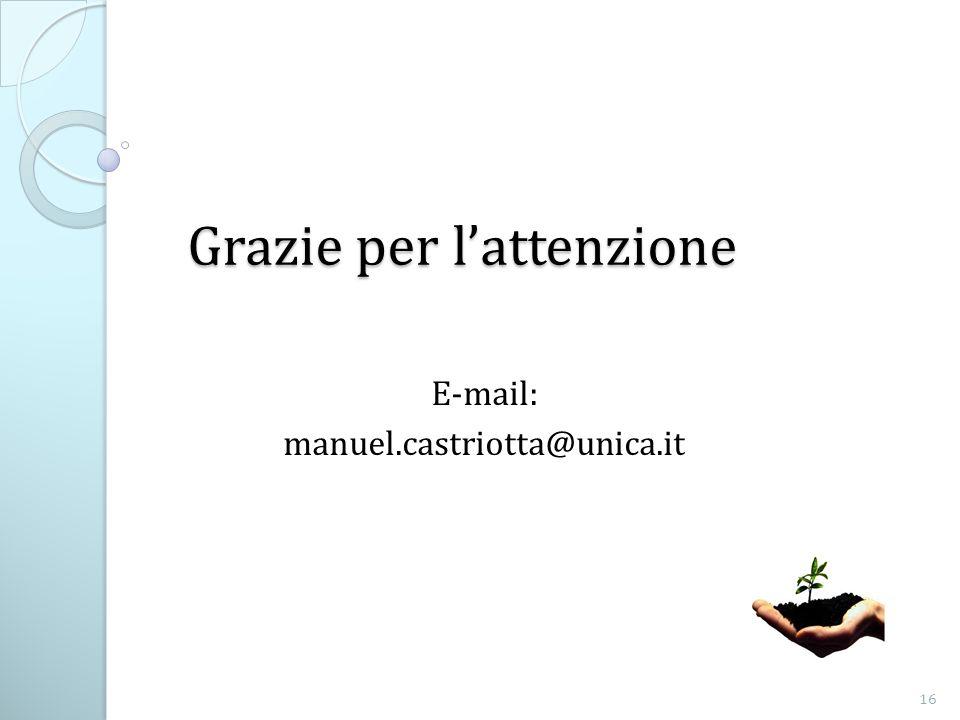 Grazie per lattenzione E-mail: manuel.castriotta@unica.it 16