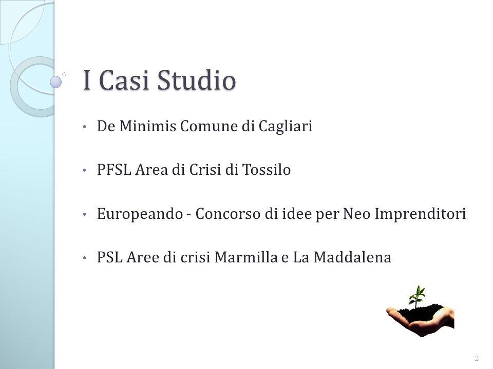 De Minimis Comune di Cagliari PFSL Area di Crisi di Tossilo Europeando - Concorso di idee per Neo Imprenditori PSL Aree di crisi Marmilla e La Maddalena 2 I Casi Studio