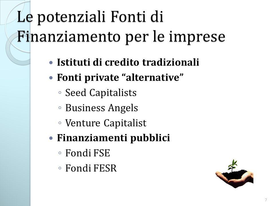 Le potenziali Fonti di Finanziamento per le imprese Istituti di credito tradizionali Fonti private alternative Seed Capitalists Business Angels Venture Capitalist Finanziamenti pubblici Fondi FSE Fondi FESR 7