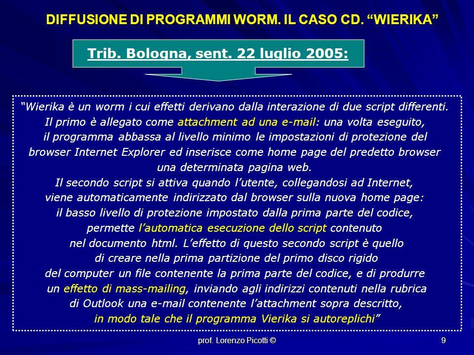 prof.Lorenzo Picotti © 9 DIFFUSIONE DI PROGRAMMI WORM.