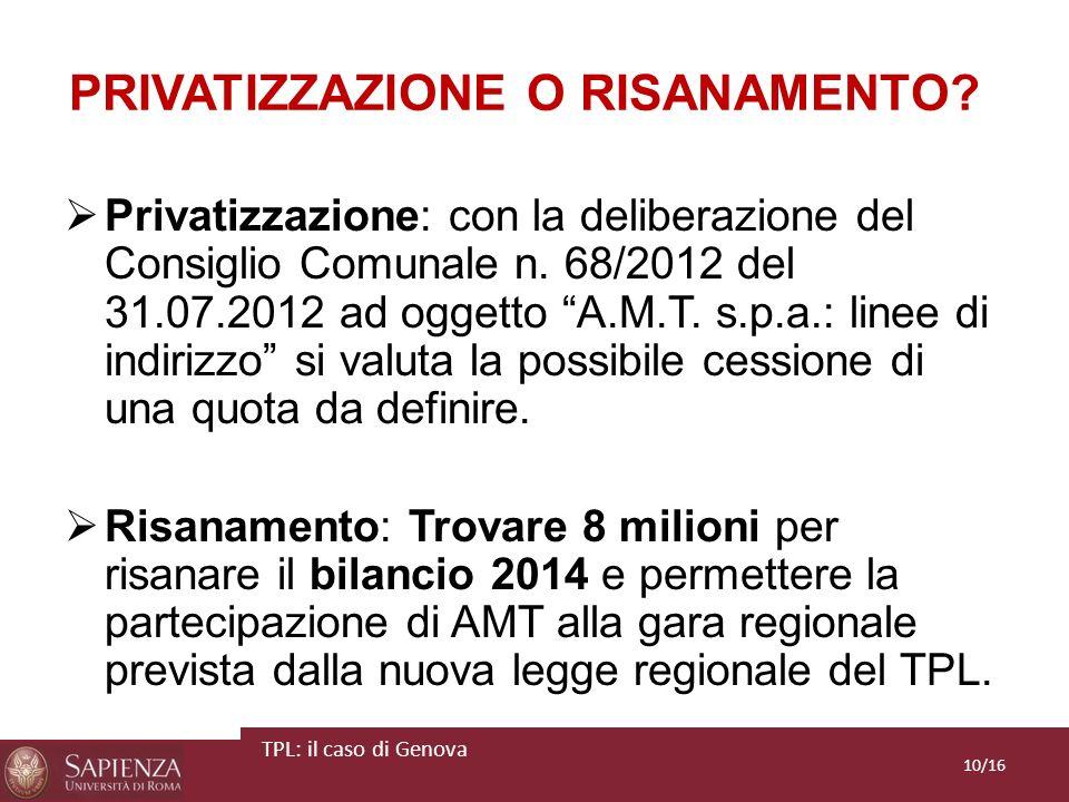 PRIVATIZZAZIONE O RISANAMENTO? Privatizzazione: con la deliberazione del Consiglio Comunale n. 68/2012 del 31.07.2012 ad oggetto A.M.T. s.p.a.: linee