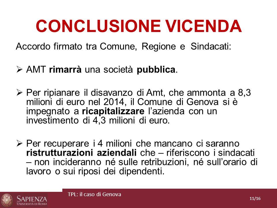 CONCLUSIONE VICENDA Accordo firmato tra Comune, Regione e Sindacati: AMT rimarrà una società pubblica. Per ripianare il disavanzo di Amt, che ammonta