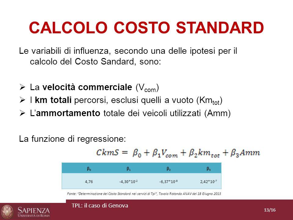 CALCOLO COSTO STANDARD Le variabili di influenza, secondo una delle ipotesi per il calcolo del Costo Sandard, sono: La velocità commerciale (V com ) I